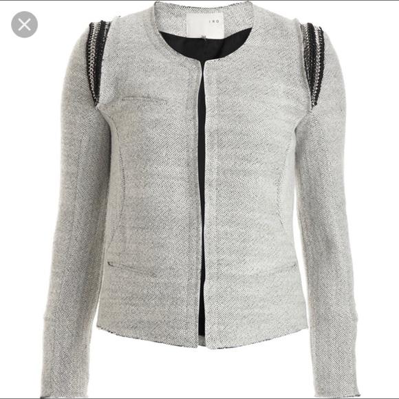 IRO Amina Gray Wool Jacket Hardware Detailing Sz 0